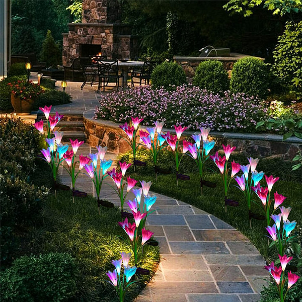 Solar-Powered Lily Garden Lights