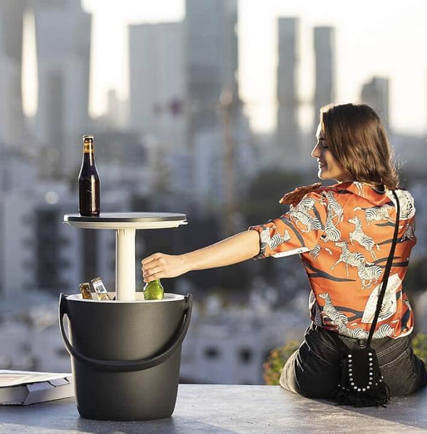 Beverages Cooler With Pop Up Table on Top